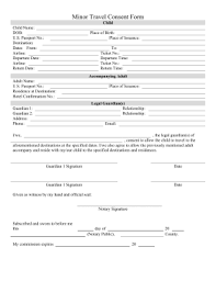This Printable Minor Consent Travel Form Allows Legal Guardians To Allow Their Children Abroad
