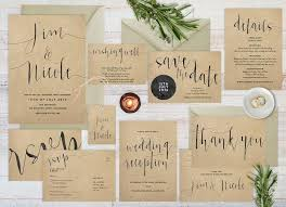 Wedding Invitation Set Rustic Kraft Paper Printable