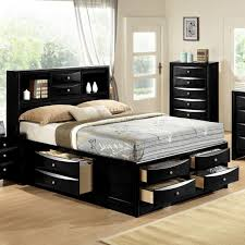 Black Emily Bookcase Headboard Queen King Captains Storage Bed w