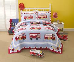 Cotton Fire Truck Twin Quilt With Pillow Sham