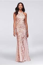 Glitter Lace And Jersey High Neck A Line Gown