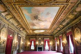 The West Lounge Is One Of Citys Most Impressive Gilded Age Ballrooms Decorative Fireplaces Red And Grey Marble Accent Room To North