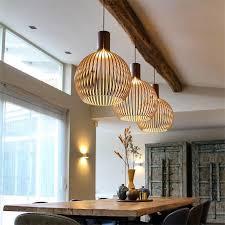 sam holz anhänger licht birdcage holz le moderne designer schwarz weiß hängen licht für restauarant esszimmer bar beleuchtung