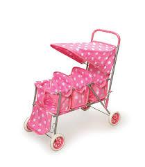 Badger Basket Doll Bed by Badger Basket Triple Doll Stroller Pink Polka Dots Fits