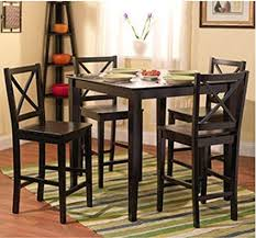 5 Piece Counter Height Dining Room Set Dinette Sets Kitchen Black For 4 Persons