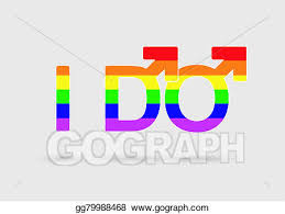 Drawing Same marriage proposal concept with two male gender signs Clipart Drawing gg