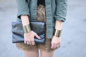 Love This Pairing Of An Olive Jacket With A Sequin Skirt Via Cupcakes And Cashmere