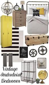 Room Design Board Vintage Industrial Bedroom