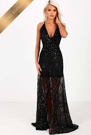 limited edition goddess black sequin split maxi dress black