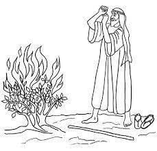 Moses Burning Bush Coloring Page Kids BibleKids