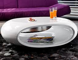 salesfever tisch hochglanz weiß oval 100x70 cm aus fiberglas ofu moderner wohnzimmer tisch in weiss mit trendiger optik durch high gloss