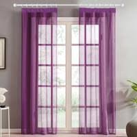 topfinel voile vorhaenge mit kraeuselband in leinen optik transparent fuer wohnzimmer schlafzimmer fenster einfarbige gardinen lila 2er set