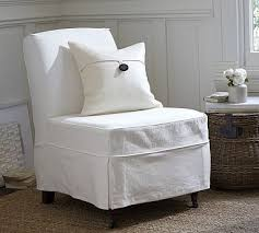Pottery Barn Napoleon Chair Slipcover by Maxton Slipcovered Slipper Chair Denim Warm White Potterybarn