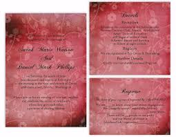 DIY Rustic Wedding Invitation Template Set Editable Word File Download Printable Wine Red Vintage Floral