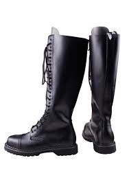 30 eye lace up black leather knee high boots