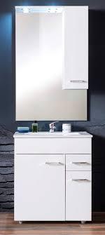 badmöbel komplett set minka echt lack hochglanz weiß inkl waschbecken spiegel schrank und beleuchtung 60x197 cm