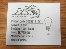 midway transparent sign marquee carnival light bulbs 11watt s14