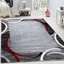 paco home wohnzimmer teppich bordüre kurzflor meliert modern hochwertig grau schwarz rot grösse 160x220 cm