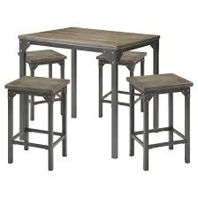 5 piece percie industrial counter height dining set oak black