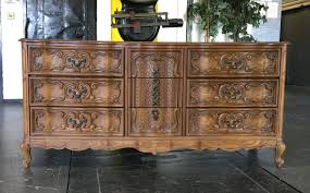 Kent Coffey French Provincial Dresser by Bassett French Provincial Hollywood Regency Carved Dresser