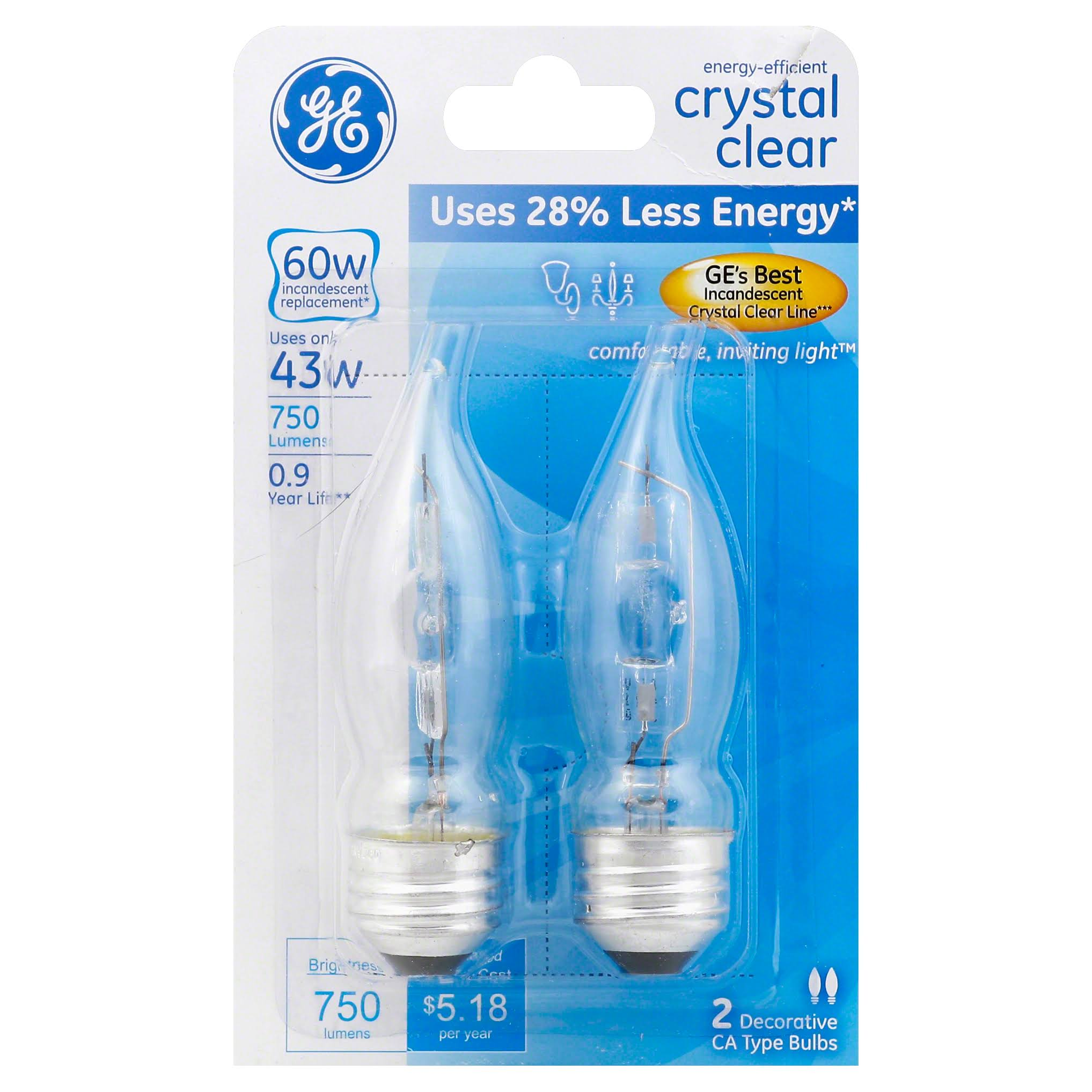 Ge Lighting Energy Efficient Crystal Clear Halogen Bulb - 43W, 2 Pack