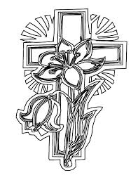 Cross Coloring Pages And Flowers