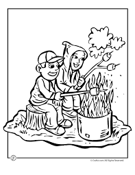 Toasting Marshmallows Color Camping Coloring Pages