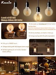dimmable led globe light bulbs kedsum 4w g80 vintage edison led