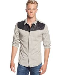 GUESS Cove Colorblocked Striped Shirt Casual Button Down Shirts