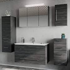 lomadox badezimmer badmöbel set in graphit struktur 100cm