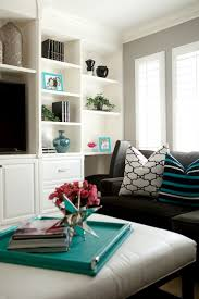 Grey And Turquoise Living Room by White And Gray Striped Walls Cottage Living Room Hillary