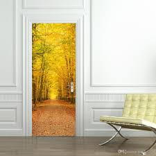 Wall Mural Decals Cheap by The Autumn Scenery Door Stickers 3d Pvc Self Adhesive Wallpaper