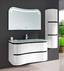 oimex felice 90 cm inkl seitenschrank led spiegel design badmöbel set hochglanz weiß badezimmer set mit viel stauraum waschtisch glaswaschbecken