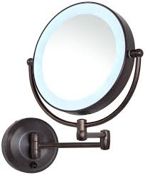 cordless led pivoting 9 wide rubbed bronze wall mount mirror