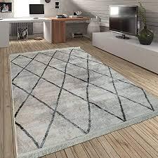 paco home wohnzimmer teppich rauten fransen skandinavisch muster karo in creme grau grösse 80x150 cm
