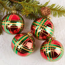 Item GB14 Complete Your Holiday Displays With These Plaid Christmas Ball Ornaments