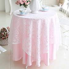 White Floral Lace Pink Underlay Tablecloth For Wedding Round Approx 62 Inch