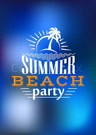 Summer Beach Party Poster Design With A Palm Tree And Rising Sun Above The Text