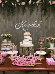 Rustic Baby Shower Decor Wood Background Girl Pink And Gold Flowers