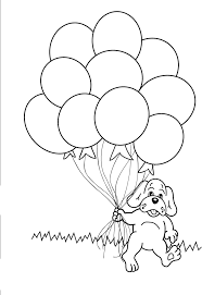 Dog With Balloon Coloring Pages