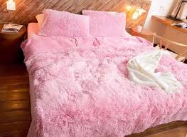 Full Size Solid Pink Princess Style 4 Piece Fluffy Bedding Sets
