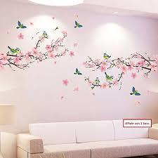 dekoration wandtattoo wohnzimmer vögel ast rosa blüten natur
