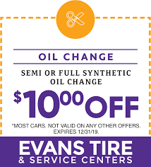 Coupons | Oil Change | Brakes | Batteries | Evans Tire San Diego