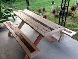 wood picnic table with detached benches 16759 dohile com