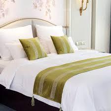 20 stücke neue einfache braun grün bettläufer flagge schal home hotel hochzeit bettwäsche schlafzimmer bett schwanz handtuch 50x210 cm 50x240 cm