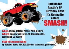 Birthday Invitations Amazing Monster Truck Party Invitations ... Monster Truck Cupcakes Archives Kids Birthday Parties Monster Truck Party Ideas At In A Box Cakes Decoration Little Fire Cake Wedding Academy Creative Coolest Car My Practical Guide Design Birthday Party Ideas Carters Bday Pinterest Laraes Crafty Corner What Ive Been Creatively Quirky Home May 2012 Monster Drink Banner