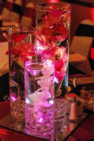 Wedding Center Pieces with Diamonds Submersible lights flowers