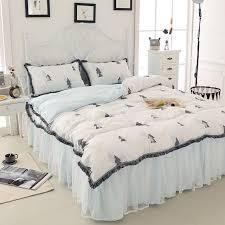 Washed Linen Cotton Korean Princess 3 4pcs Bedding Sets Christmas Tree Printed Duvet Cover