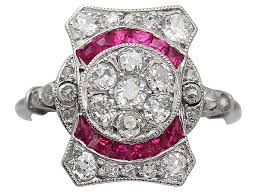 deco ruby and ring deco ring in 18ct white gold antique