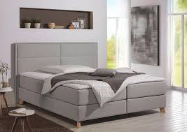home affaire boxspringbett mit federkern h3 landhaus stil grau material buche polyester caria mit topper